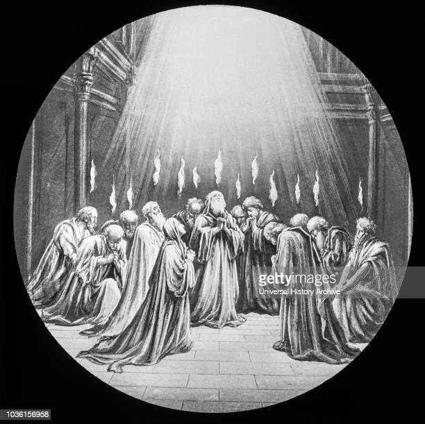 A magic lantern slide circa 1900 The day of Pentecost religious slide