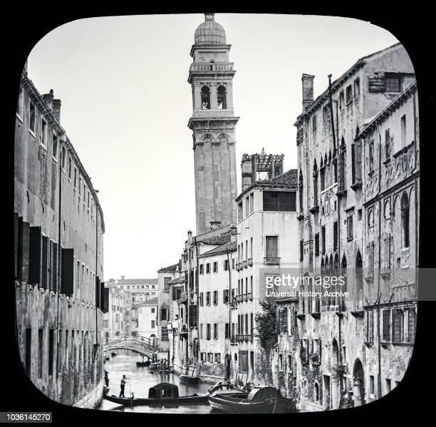 Magic lantern slide circa 1900.Victorian/Edwardian.Social History. The Beauties of Venice,photographs created in 1888 Joseph John William ACWORTH...