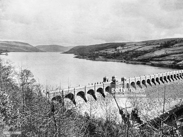Magic lantern slide circa 1900Victorian/EdwardianSocial HistoryLake Vyrnwy being built in the 1880's A reservoir in Powys Wales built in the 1880s to...