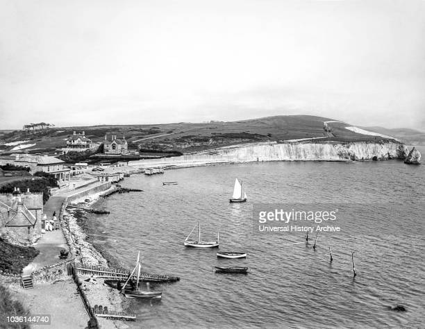 Magic lantern slide circa 1900.Victorian/Edwardian.Social History.Freshwater is a large village and civil parish at the western end of the Isle of...