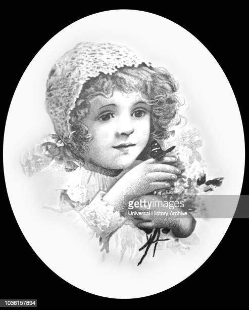 Magic lantern slide circa 1900Victorian/EdwardianSocial HistoryPortrait pencil sketch of a girl with a butterfly on her finger and flowers in her arms