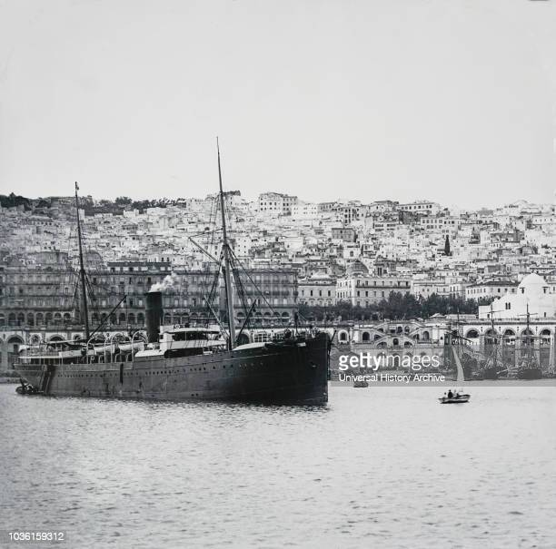 Magic lantern slide circa 1900VictorianSocial HistoryNo 1‰ÛÓAlgiers from the Harbour Of all towns op the Mediterranean between Tunis and Tangiers...