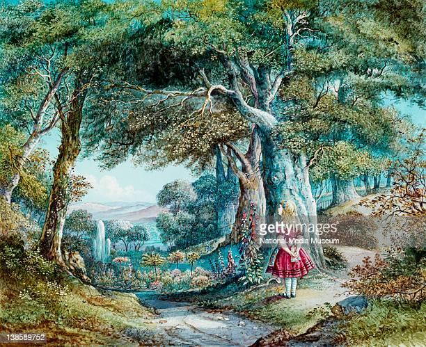 Magic lantern slide of Alice in Wonderland Royal Polytechnic Institution c1860