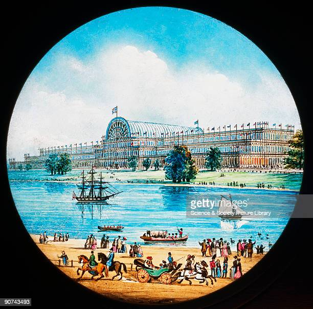 A magic lantern slide showing the Crystal Palace home of the Great Exhibition of 1851 The 'Great Exhibition of the Works of the Industry of all...