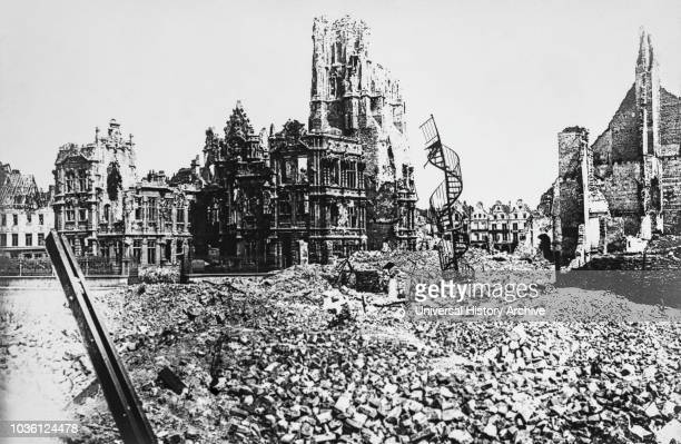 Magic lantern slide WW1, 1914-1918, World war one images. The ruined Town Hall, Arras, May 1917. Bomb damage to town centre