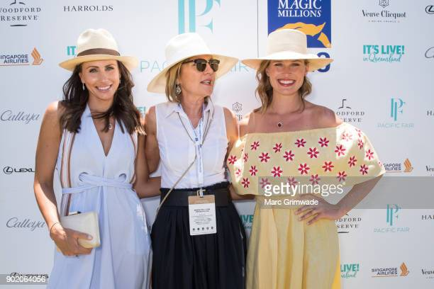 Magic Millions ambassador Amanda Abate and Katie Page and racing identity Francesca Cumani attend Magic Millions Polo on January 7 2018 in Gold Coast...