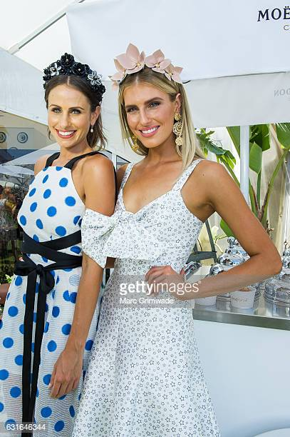Magic Millions ambassador Amanda Abate and Moet Chandon ambassador Erin Holland attend Magic Millions Raceday on January 14 2017 in Gold Coast...