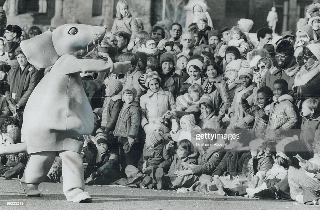 Magic moments: Children and adults alike were thrilled by huge costumed cartoon figures like this mo... : News Photo