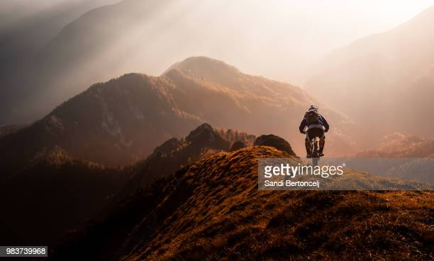 magic moments in the mountains - mountain bike stock pictures, royalty-free photos & images