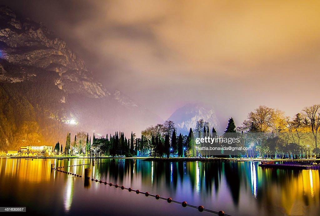 A magic night on lake garda. : Stock Photo