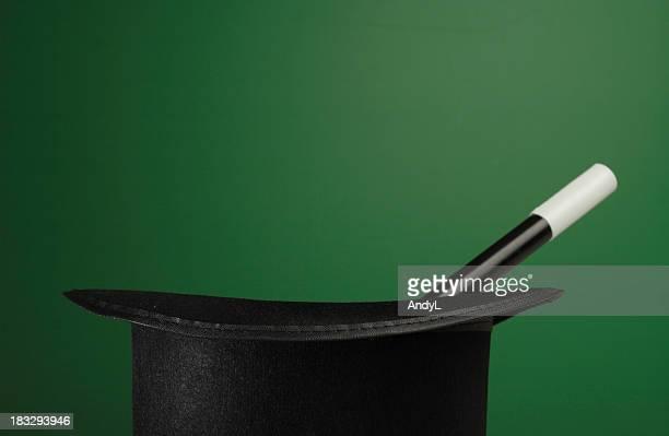 マジカ小道具、緑色の背景にコピースペース付き