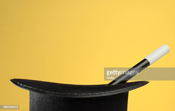 magic props on yellow with space for copy - yellow hat stock pictures, royalty-free photos & images