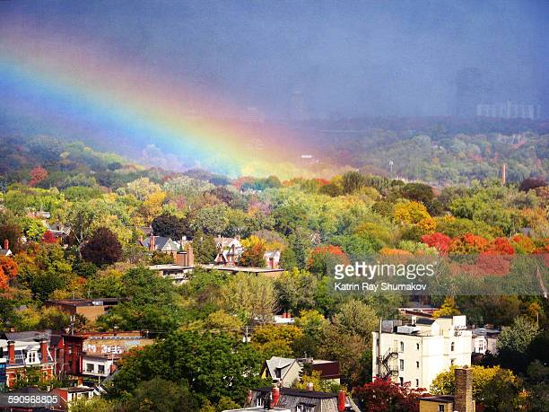 Magic rainbow is pouring from the skies