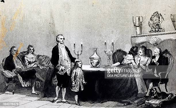 Magic session of Count Alessandro of Cagliostro Italian alchemist and occultist engraving France 18th century Paris Bibliothèque Nationale De France
