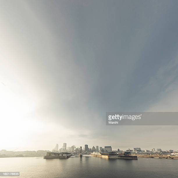 magic sky over montreal - harbour stock pictures, royalty-free photos & images