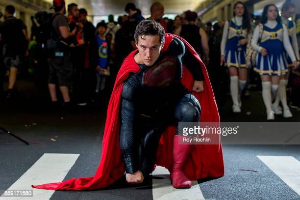 "Magic Superman"" cosplays as Superman during the 2017 New York Comic Con - Day 4 on October 8, 2017 in New York City."