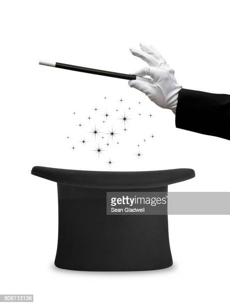 magic wand and top hat - zaubertrick stock-fotos und bilder