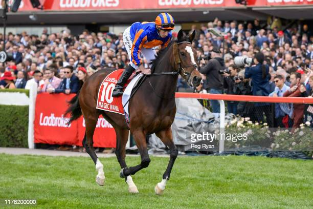 Magic Wand ridden by Ryan Moore heads to the barrier before the Ladbrokes Cox Plate ,at Moonee Valley Racecourse on October 26, 2019 in Moonee Ponds,...