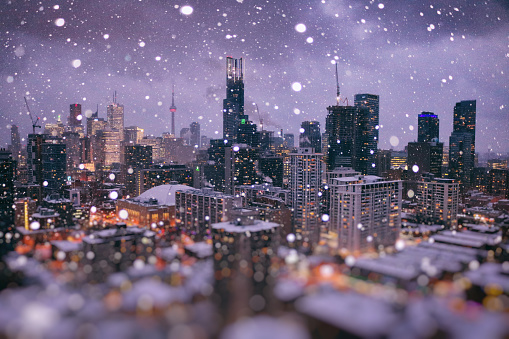 Magic Winter Wonder City of Toronto in Ocean of Bokeh - gettyimageskorea