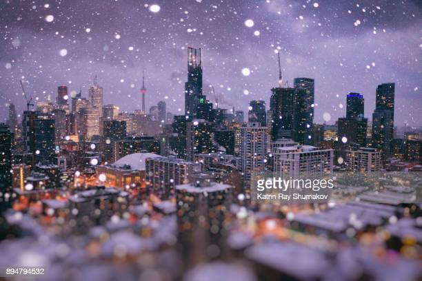 magic winter wonder city of toronto in ocean of bokeh - toronto stock pictures, royalty-free photos & images