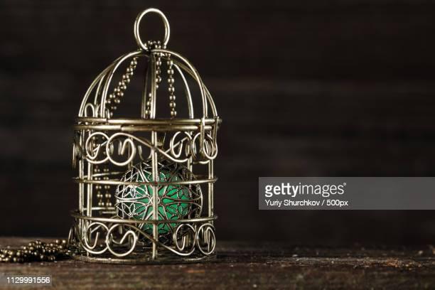 magical glowing pendant in a cage - oorhanger stockfoto's en -beelden