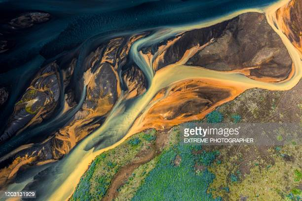 magical helicopter view of iceland glacial rivers - geology stock pictures, royalty-free photos & images