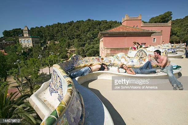 Magical homes of Antoni Gaudi's Parc Guell, Barcelona, Spain