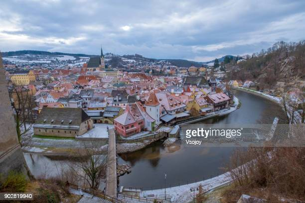 a magical place in winter - český krumlov, czech republic - cesky krumlov castle stock photos and pictures