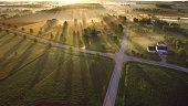 Magical sunrise through ground fog with long shadows and sunbeams