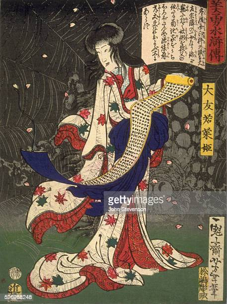 A magician called Princess Otomo Wakana stands with her familiar a giant spider holding a scroll inscribed with the spells of spider magic Note the...