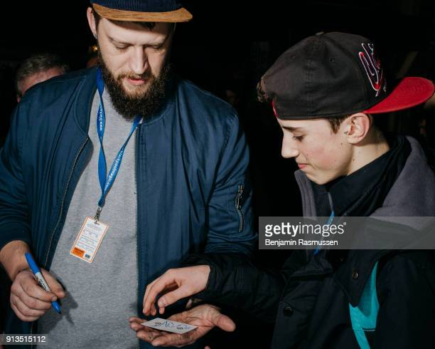 Magician Chris Ramsay signs cards and poses for pictures with fans at the Blackpool Magic Convention on February 19 2016 The most talented and...