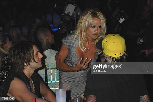 Magician Criss Angel actress Pamela Anderson and musician Tommy Lee attend the 2007 MTV Video Music Awards at the Palms Casino Resort on September 9...