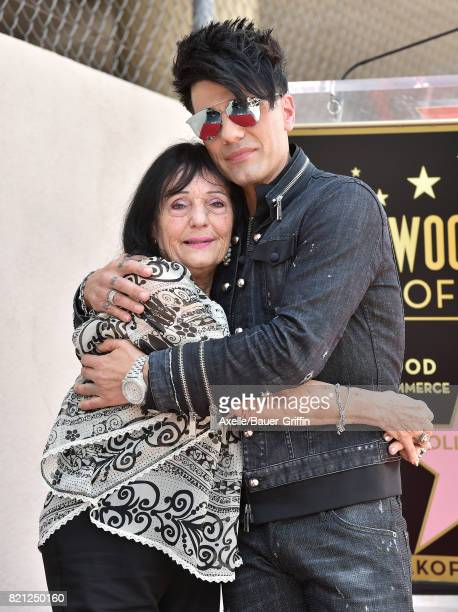 Magician Criss Angel and mom Dimitra Sarantakos attend the ceremony honoring Criss Angel with star on the Hollywood Walk of Fame on July 20 2017 in...