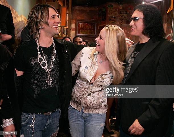 Magician Criss Angel from left model Audra Lynn and Gene Simmons attends a party launching Dussault Apparel's concept store on Melrose Avenue on...