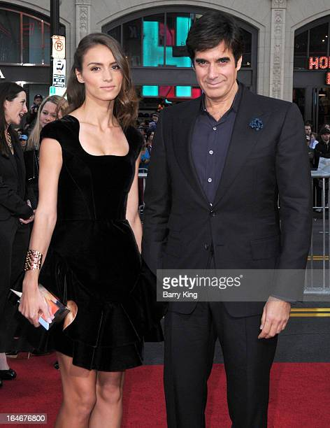 Magician David Copperfield and Chloe Gosselin arrive at the The Incredible Burt Wonderstone Los Angeles premiere at TCL Chinese Theatre on March 11...