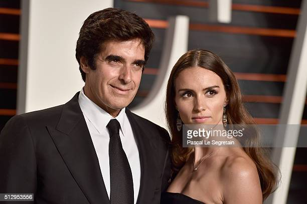 Magician David Copperfield and model Chloe Gosselin attend the 2016 Vanity Fair Oscar Party Hosted By Graydon Carter at the Wallis Annenberg Center...