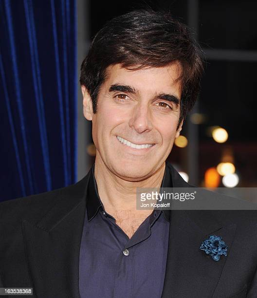 Magician David Copperfield arrives at the Los Angeles Premiere 'The Incredible Burt Wonderstone' at TCL Chinese Theatre on March 11 2013 in Hollywood...
