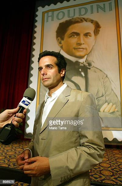 Magician David Copperfield attends the unveiling of the Harry Houdini 37cent postage stamp at the Society of American Magicians Centennial Convention...