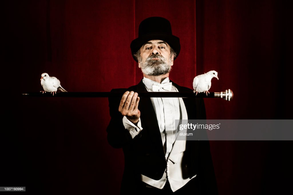 Magician holding stick with doves : Stock Photo