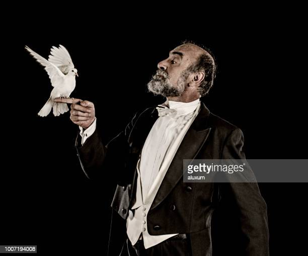 magician holding white dove - tail coat stock pictures, royalty-free photos & images