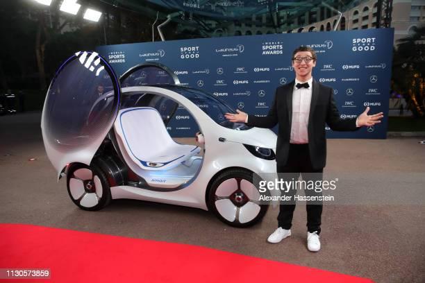 Magician Julius Dein arrives during the 2019 Laureus World Sports Awards on February 18 2019 in Monaco Monaco