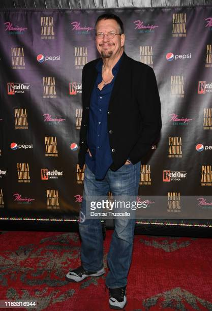 """Magician Penn Jillette arrives at the opening of """"Paula Abdul Forever Your Girl"""" At Flamingo Las Vegas on October 24 2019 in Las Vegas Nevada"""