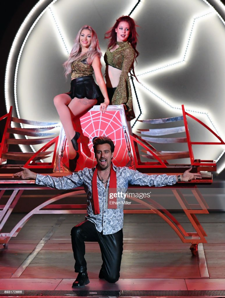 Magician Tommy Wind (front), Stacy Wind (L) and Amanda Dillon perform during opening night of 'Masters of Illusion' at Bally's Las Vegas on December 13, 2017 in Las Vegas, Nevada.