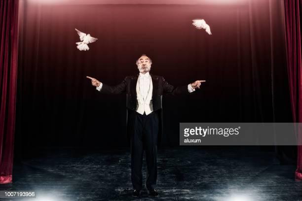 zauberer-trick mit weißen tauben - zauberer darstellender künstler stock-fotos und bilder