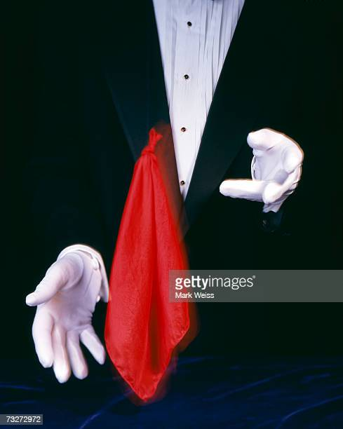 Magician with floating handkerchief
