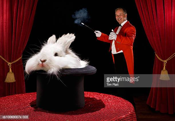 Magician with rabbit in hat, smiling, side view