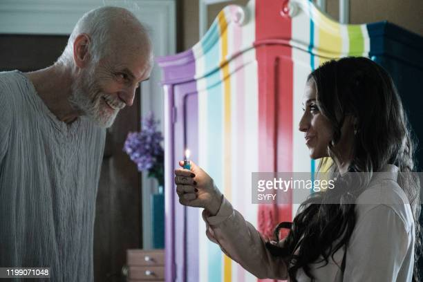 THE MAGICIANS Magicians Anonymous Episode 504 Pictured Matt Frewer as The Binder Stella Maeve as Julia Wicker
