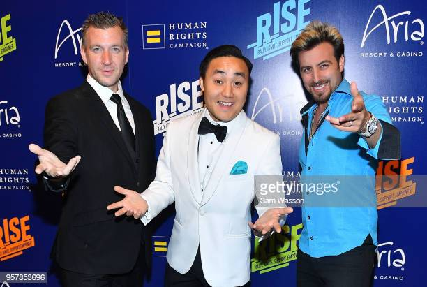 Magicians Chris Randall Naathan Phan and Tommy Wind attend the Human Rights Campaign's 13th annual Las Vegas Gala at the Aria Resort Casino on May 12...