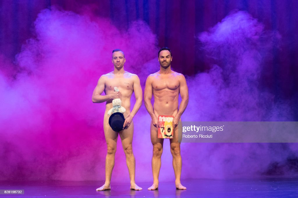 Magicians Christopher Wayne and Mike Tyler pose naked during a photocall for their show 'The Naked Magicians' at Assembly Rooms during the 70th Edinburgh Fringe Festival on August 9, 2017 in Edinburgh, Scotland.