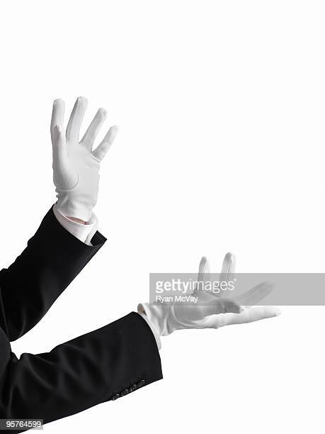 magician's hands gesturing - white glove stock pictures, royalty-free photos & images